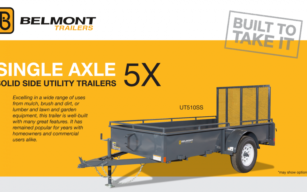 Belmont Single Axle 5x Solid Side Utility Trailer