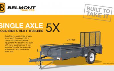 Belmont Single Axle 5x Solid Side Utility Trailer