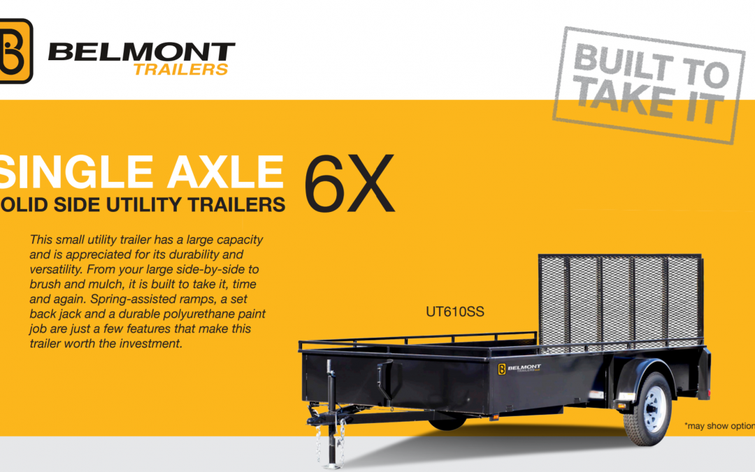 Belmont Single Axle 6x solid state side utility trailer