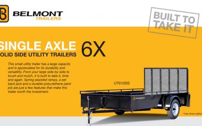 Belmont Single Axle 6x Solid Side Utility Trailers